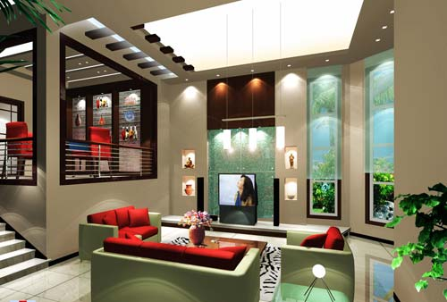 蓝洲湾别墅效果图 一楼客餐厅 -桂林市星河装饰工程有限责任公司 桂高清图片